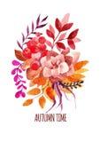Le bouquet d'automne de vecteur d'aquarelle, photo tirée par la main de la chute s'embranche dans des couleurs oranges et rouges  Image stock