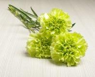 Le bouquet de l'oeillet fleurit sur l'angle faible de plancher en bois lumineux Image libre de droits