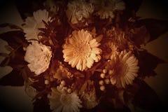 Le bouquet de style de vintage de l'immortelle fleurit comme une vieille peinture dans des couleurs modifiées la tonalité sensibl Photographie stock