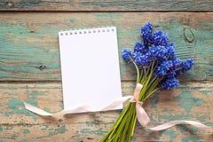 Le bouquet des muscaries bleus fleurit avec le bloc-notes vide ouvert sur vieux Photo libre de droits