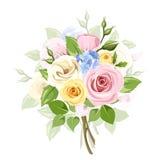 Le bouquet des roses, du lisianthus et du lilas colorés fleurit Illustration de vecteur Photo stock