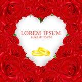 Le bouquet des roses rouges à un coeur avec des anneaux des textes et de mariage image libre de droits