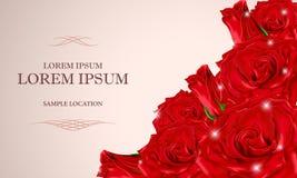 Le bouquet des roses rouges avec le texte sur la carte image libre de droits