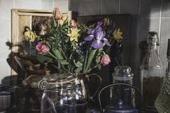 Le bouquet du ressort fleurit dans la cuisine élégante britannique photographie stock