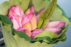 Le bouquet rose de fleurs de lotus fait en lotus part Images stock