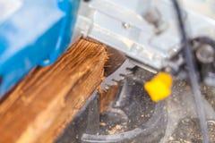 Le bourdonnement a vu des coupes un bois photo libre de droits