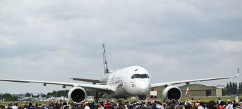 Aircrafts parked at meeting space in Paris Le Bourget during the Aeronautics and spatial international airshow and aviation. LE BOURGET, FRANCE - JUNE 24, 2017 stock photo