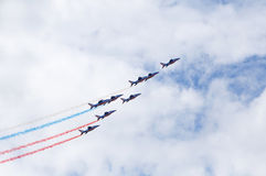 LE BOURGET, FRANCE - June 25, 2017: The Patrouille Acrobatique de France making French flag Royalty Free Stock Photography