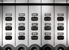 Le bouton commande le détail sur enregistrer le mélangeur audio Photo stock