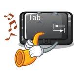 Le bouton d'étiquette de trompette étant fixé au clavier de bande dessinée illustration stock