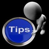 Le bouton d'astuces signifie des indicateurs et des conseils de suggestions Photo libre de droits
