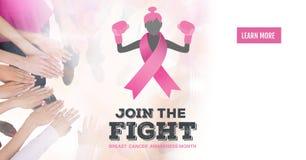 Le bouton d'en savoir plus avec joignent le texte de combat avec des femmes de conscience de cancer du sein remontant des mains photo libre de droits
