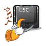 Le bouton d'ESC de trompette étant fixé au clavier de bande dessinée illustration de vecteur