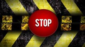 Le bouton de contact 'ARRÊT' devant le secteur d'avertissement illustration stock