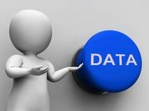 Le bouton de données montre des dossiers et des archives de documents Image stock