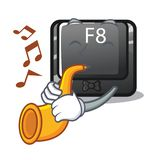 Le bouton de la trompette f8 étant installé sur la mascotte d'ordinateur illustration libre de droits