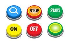 Le bouton de recherche de vecteur, s'arrêtent, démarrent, dessus, et bouton vert illustration de vecteur