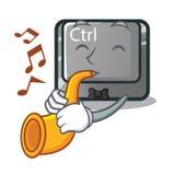 Le bouton du caractère CTRL de trompette étant attaché sur l'ordinateur illustration de vecteur