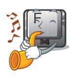 Le bouton F de trompette étant installé sur l'ordinateur de bande dessinée illustration libre de droits
