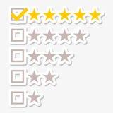 Le bouton jaune emmêlé du Web cinq tient le premier rôle des autocollants d'estimations illustration libre de droits