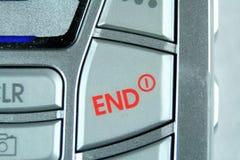 Le bouton rouge d'extrémité termine l'appel Image stock