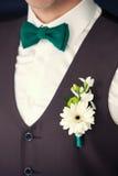 Le boutonniere du marié et le lien - papillon Image stock