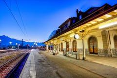 Le Bouveret, Switzerland Train Station. Empty train station of Le Bouveret, Valais, Switzerland in early morning Stock Photo