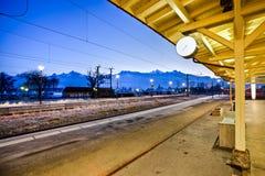 Le Bouveret, Switzerland Train Station. Empty train station platform of Le Bouveret, Valais, Switzerland iat dawn Stock Image