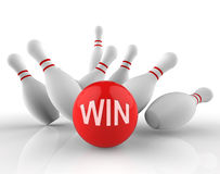 Le bowling de victoire représente Dix le rendu de Pin And Activity 3d Photo libre de droits