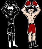 Le boxeur avec des bras a élevé le personnage de dessin animé Photos libres de droits