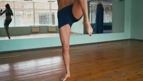 Le boxeur de femme de métis réchauffe des muscles avant le combat Fermez-vous vers le haut du tir de mouvement lent clips vidéos