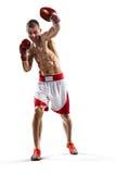 Le boxeur de Professionl est isolé sur le blanc Photographie stock libre de droits
