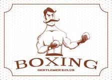 Le boxeur de vintage reste dans le support illustration libre de droits