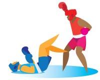Le boxeur fort envoie son adversaire au coup de grâce illustration libre de droits