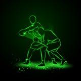 Le boxeur a frappé et les chutes d'adversaire dans le coup de grâce illustration libre de droits