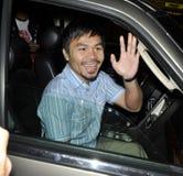 Le boxeur Manny Pacquiao est vu chez LAX. photographie stock libre de droits
