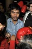 Le boxeur Manny Pacquiao est vu chez LAX. photos stock