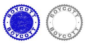 Le BOYCOTT grunge a rayé des timbres illustration stock