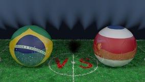 Le Brésil contre Costa Rica Coupe du monde 2018 de la FIFA Image 3D originale Photo libre de droits