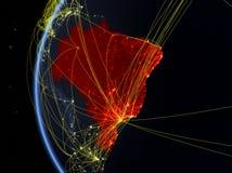Le Brésil de l'espace avec le réseau photographie stock