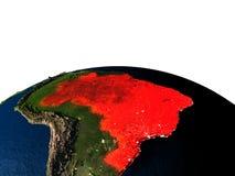 Le Brésil de l'espace la nuit illustration stock