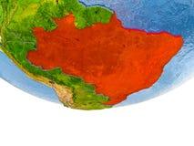 Le Brésil en rouge sur le modèle de la terre Images libres de droits