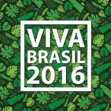 Le Brésil 2016 Fond tropical de feuilles Vert Images libres de droits