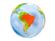 Le Brésil sur le globe d'isolement Image libre de droits