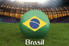 Le Brésil sur la langue du Brésil sur la boule d'équipe de football sur le grand fond de stade Concept de concurrence d'équipe du illustration stock