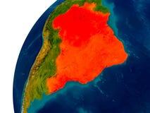 Le Brésil sur le globe Photo stock