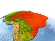 Le Brésil sur le modèle de la terre Photo stock