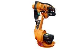 Le bras robotique industriel a isolé Images stock
