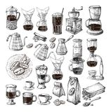 Le brassage alternatif différent pour le cezve de chemex de siphon de collection d'ensemble de café versent illustration stock