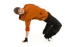 le breakdance heureux m'effectuent Photographie stock
